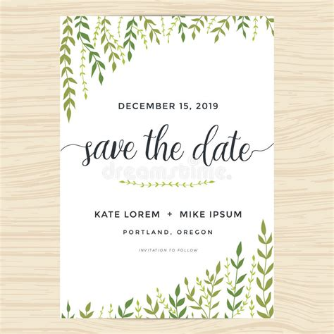 Garden Wedding Invitation Card Template by Garden Leafs Design For Save The Date Card