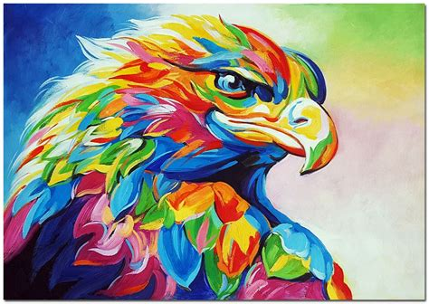 colorful painting painted impressionist eagle painting on canvas