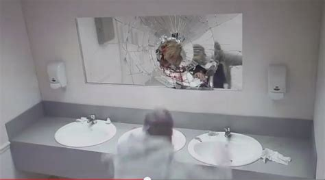 bathroom mirror prank bathroom prank scares drivers from drunk driving
