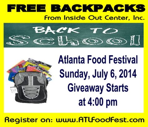 Free School Supplies Giveaway - inside out inc back to school supplies giveaway atlanta food festival