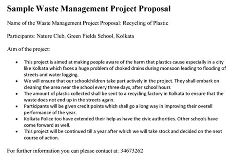 Waste Management Project Proposal Waste Management Contract Template