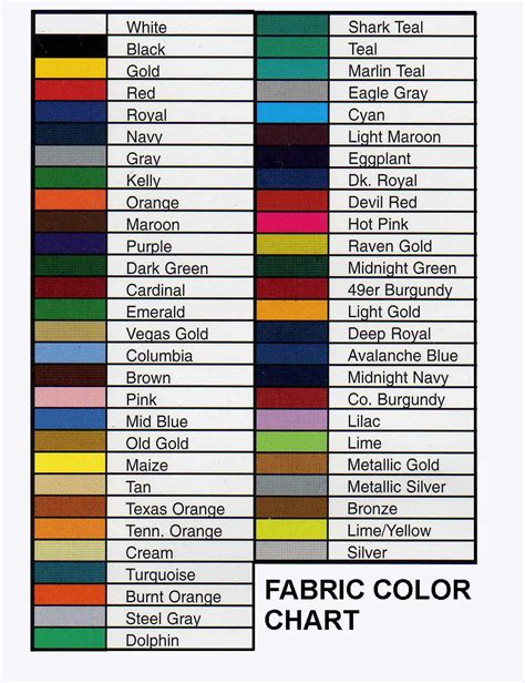 colour shades with names fabric color chart rangers pinterest colour chart
