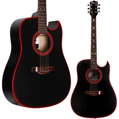 Guitar Black size steel string lindo black widow acoustic guitar