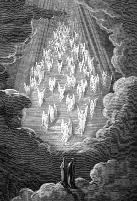 Dante sees the formation of a golden ladder and souls