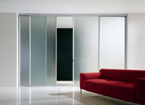 modern interior sliding door featuring frosted glass panel