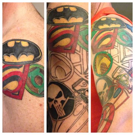superhero tattoo designs the beginning middle and almost done