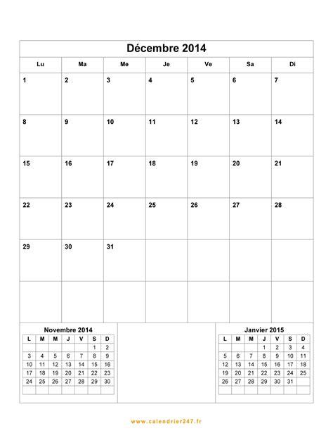 Calendrier Décembre 2014 à imprimer gratuit en PDF et Excel
