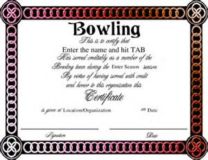 bowling certificate template bowling award certificate template