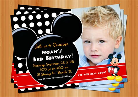 mickey mouse birthday invitation printable birthday