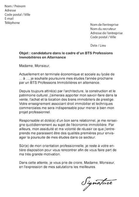 Exemple De Lettre De Motivation Bts En Alternance Lettre De Motivation Bts Professions Immobili 232 Res Alternance Mod 232 Le De Lettre