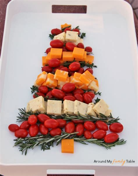 christmas tree cheese platter around my family table
