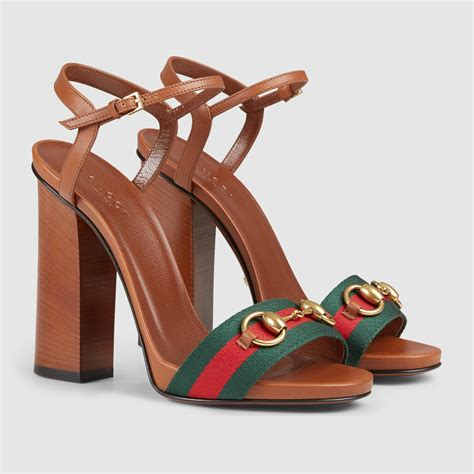Coming New Gucci Web Leather With 2 Straps Medium lyst gucci leather t sandal in brown