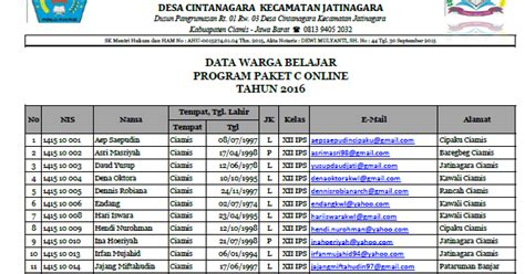 format buku data warga masyarakat data warga belajar paket c online tahun pelajaran 2016