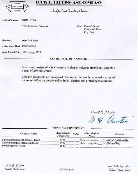 certificate of analysis template certificate of analysis template