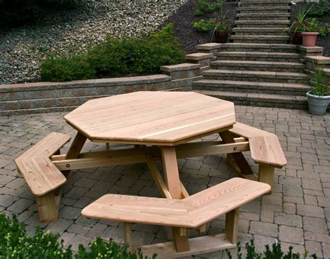red cedar octagon walk in picnic table