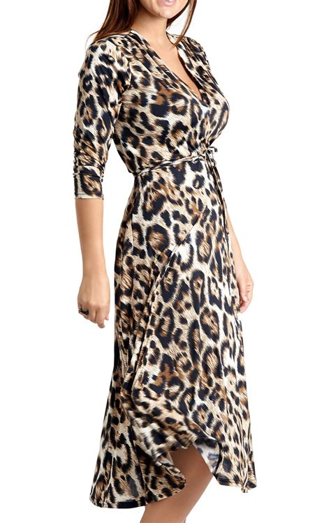andrea leopard print mid length dress