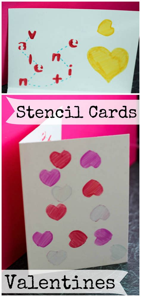 simple valentines simple stencil valentines day cards in the playroom