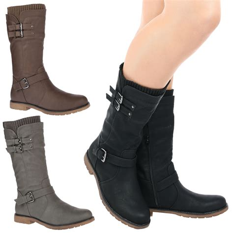 womens biker boots fashion womens shoes ladies mid calf low heel winter sock riding