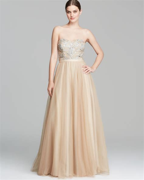 beaded gown lyst aidan mattox gown strapless beaded bodice in