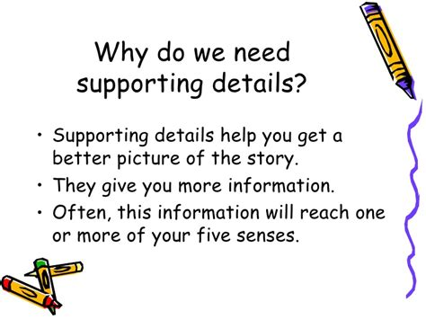 The Is In The Details idea and supporting details presentation