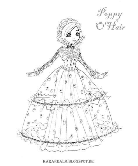 ever after high coloring pages poppy o hair kara realm ever after high coloring pages coloring