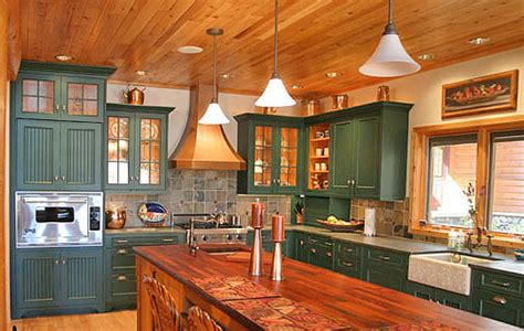 Painted Green Kitchen Cabinets Pictures Of Log Home Kitchens Times Guide To Log Homes
