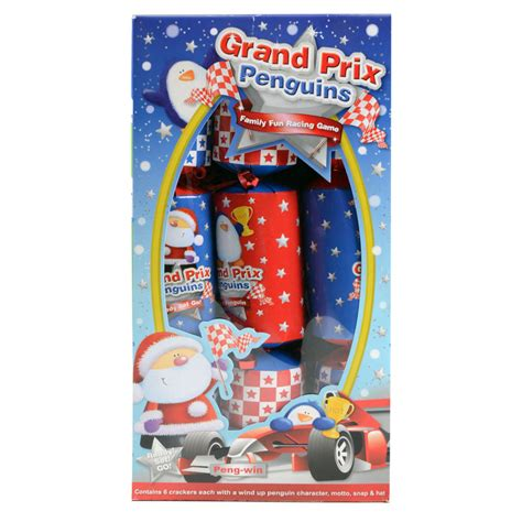 pack of six grand prix penguins christmas festive crackers new