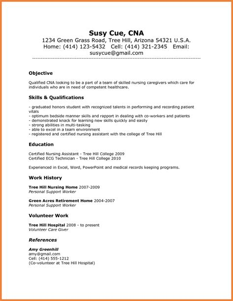 cna exle resume nursing assistant resume sop