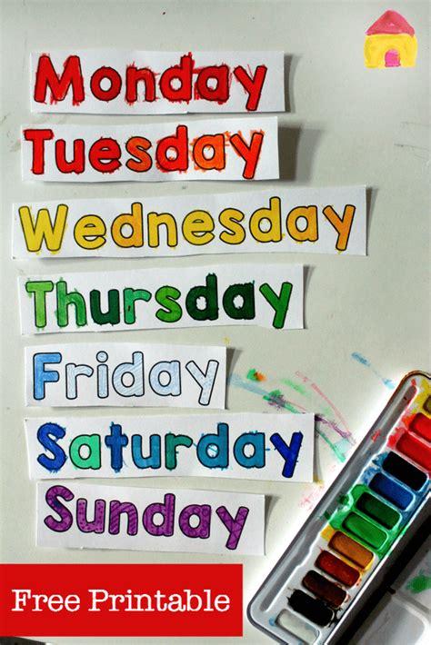 free days of the week printable spinner nurturestore
