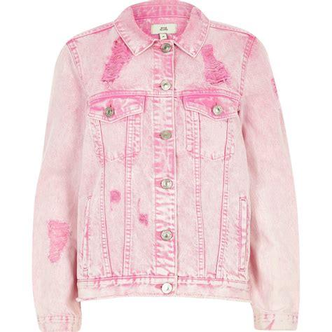 Nayla Ripped Jaket river island pink acid wash ripped oversized denim jacket in pink lyst