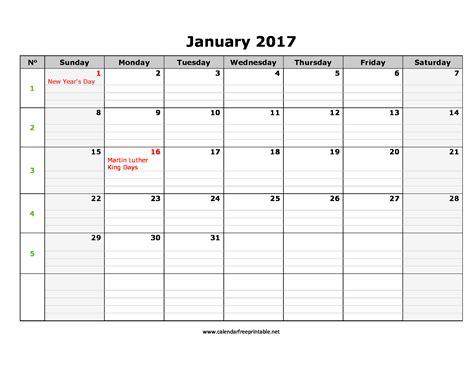 Calendar 2017 January January 2017 Calendar Excel Calendar Free Printable