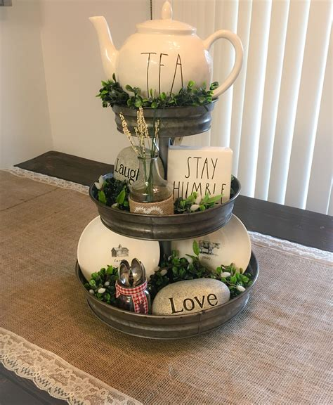 everyday rae dunn inspired farmhouse table centerpiece