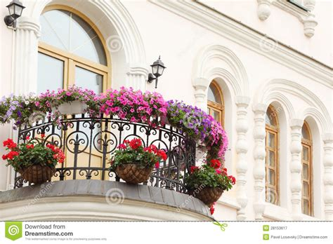 beautiful balcony with sunbeds and plants with beautiful beautiful balcony with flowers and windows of house