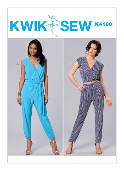 pattern review kwik sew 3601 kwik sew 4180 misses surplice blouson jumpsuits and sash