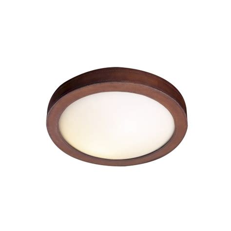 Ceiling Light Surround Flush Fitting Low Ceiling Light With Circular Brown Leather Surround
