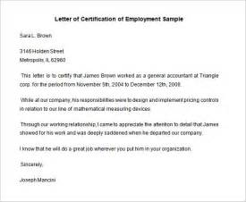 Work Certification Letter Sample sample certificate of employment download