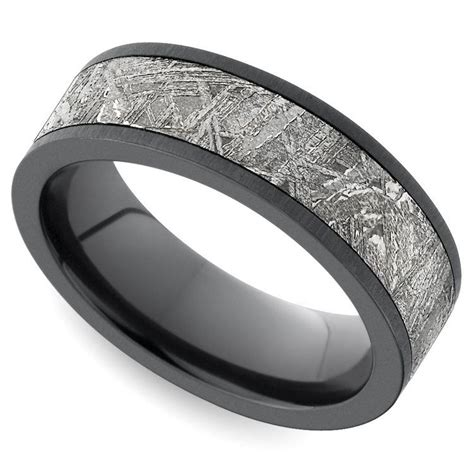 Wedding Ring Zirconium by Flat Satin S Wedding Ring With Meteorite Inlay In