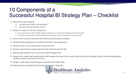 business intelligence plan template developing a hospital business intelligence strategy