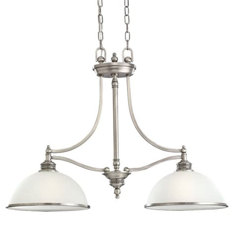 Brushed Nickel Island Lighting Shop Sea Gull Lighting Laurel Leaf 12 In W 2 Light Antique Brushed Nickel Kitchen Island Light