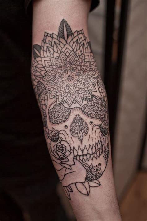 skull and flower tattoos abstract flower skull ideas