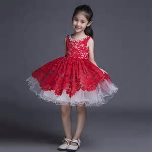red lace kids ball gown little girls pageant dress short puffy flower dress children formal
