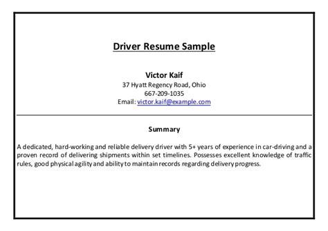car driver resume format doc driver resume sle