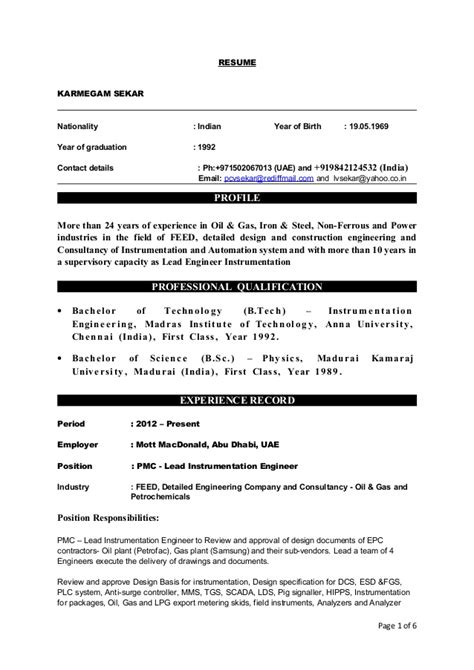 experienced instrumentation engineer resume format karmegam sekar resume of instrumentation and engineer