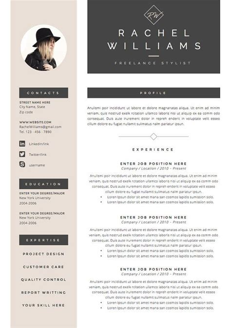photo resume template 25 best ideas about creative cv template on
