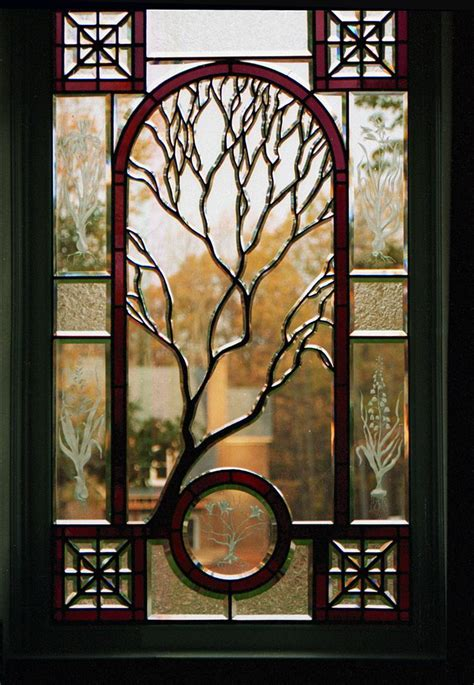 contemporary stained glass landing window in a