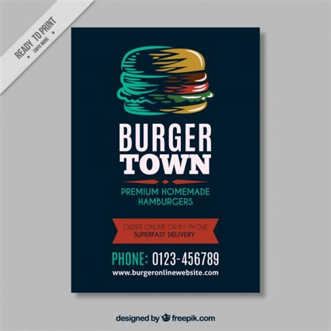 Handmade Burger Discount - vintage brochure template with hamburger vector
