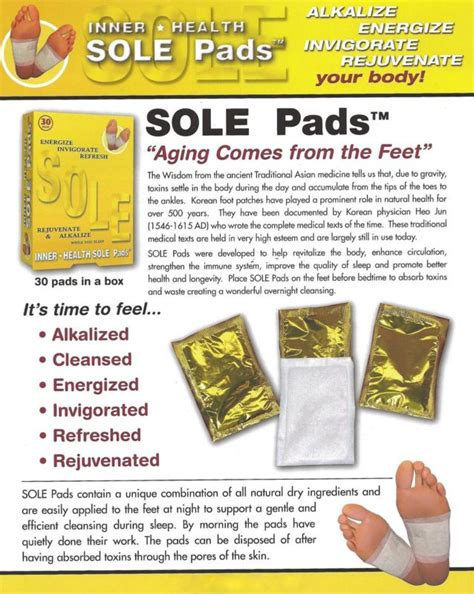 Sole Detox Pads by Herbal Circulation Energy Health Tourmaline Detox