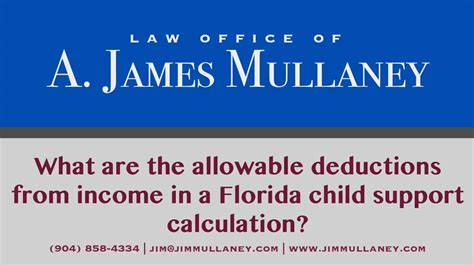 section 7 child support what are the allowable deductions from income in a florida