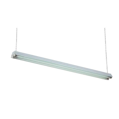 Basic 48 Quot Fluorescent L Hanging Shop Light Fixture 48 Fluorescent Light Fixture Home Depot