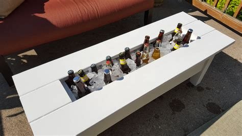 outdoor cooler coffee table built in wine